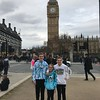 Kids in Parliament Square...just between Big Ben and Westminster Abbey.