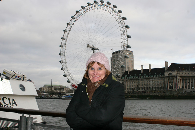 Amy in front of the London Eye