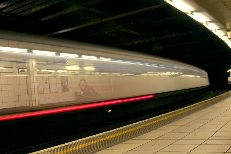 Underground train passing through.