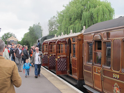 We enjoyed riding in these trains. June 22, 2013.  We rode from Ongar to North Heald, then back to Ongar.   After a ride on a heritage bus, we ended up in North Heald again, then rode another steam train back to Ongar!