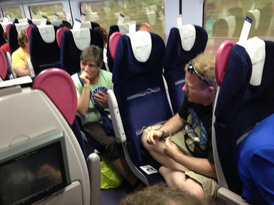 Playing cards on the train back from Bath.  See separate album of Bath photos.