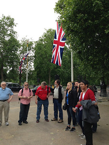 On the first day's orientation tour we walked by Buckingham Palace and this route festooned with flags (preparation for the Trooping of the Colours ceremony the next day; see separate album).
