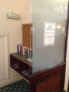 A free book exchange in the lobby of Endsleigh Court, our home base in London June 12-25, 2013