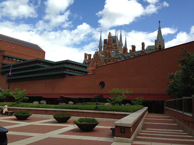 The British Library, with St Pancras Hotel and station visible beyond.