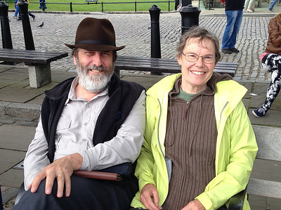 Happy tourists along the Embankment near Tower of London.  Ken is wearing his new British hat.