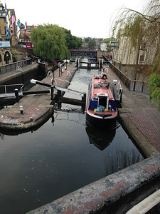 Narrowboat going through the locks at CamdenTown  See separate album for more about canal boats