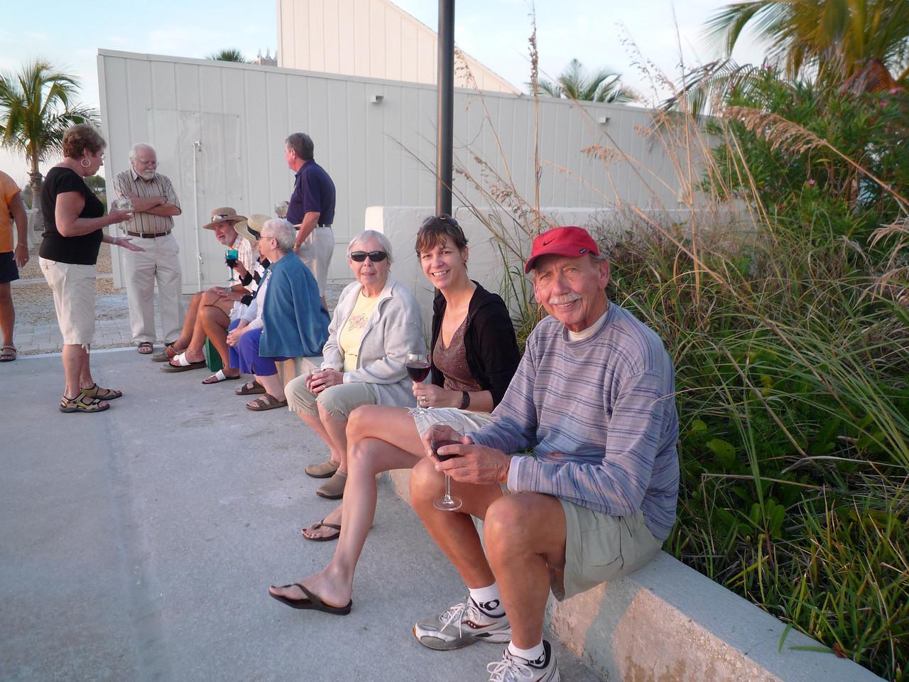 Oma, Ila, and Grandpa prepare for sunset.