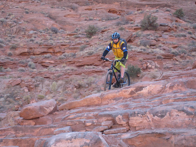 Scott rides the first gnarly descent
