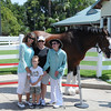 Dayna, Jake, Joy and Frau with Chris the Clydesdale