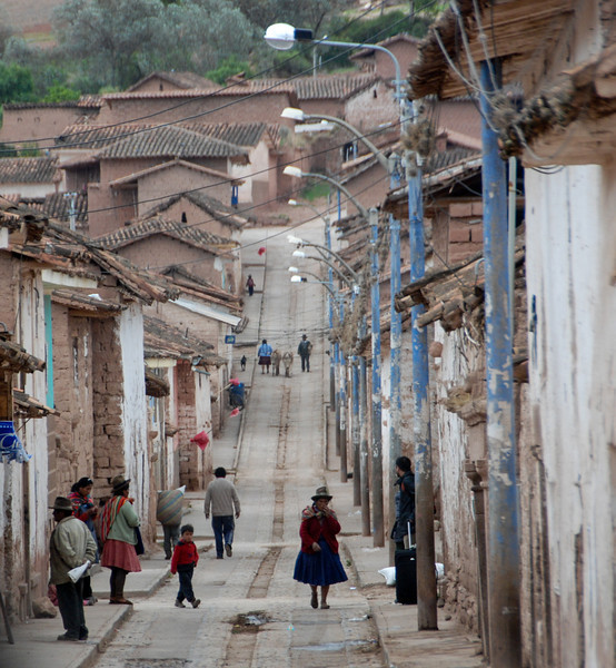 This is Maras, the city below Moray.  While there are vehicles, most traffic is on foot.
