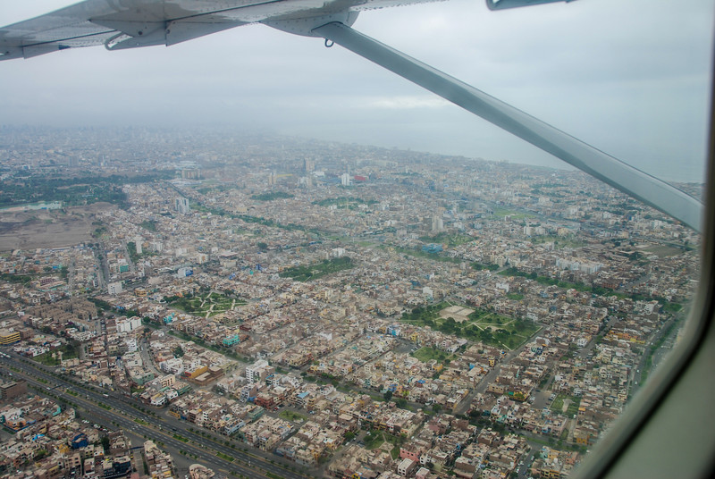 Flying out over Lima, Peru