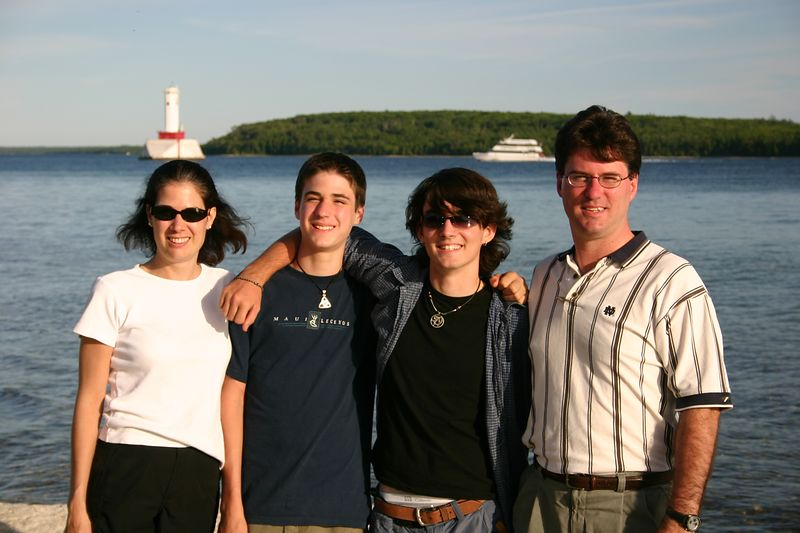 The Baynes on the south shore.  The main harbor is to the left of Leslie, and that's a ferry coming in, behind us.