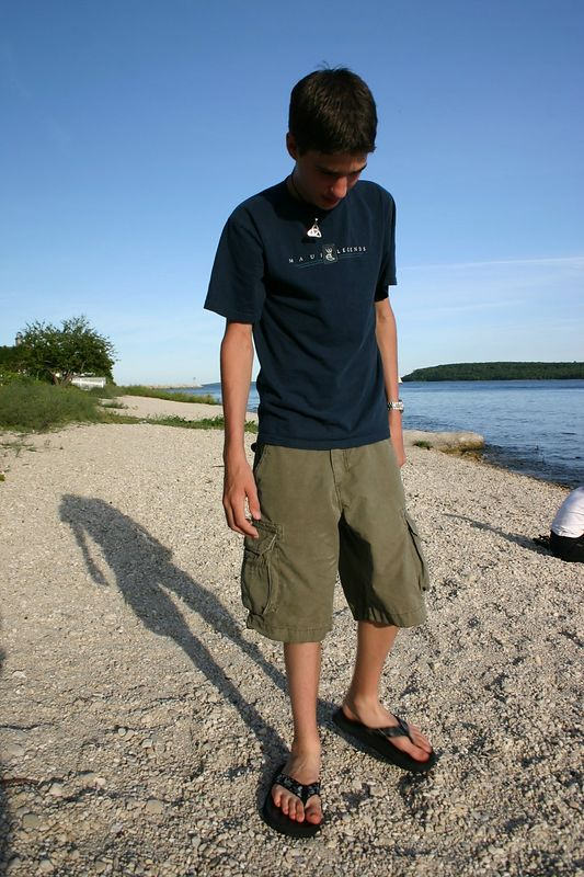 Evan, looking for skipping stones.