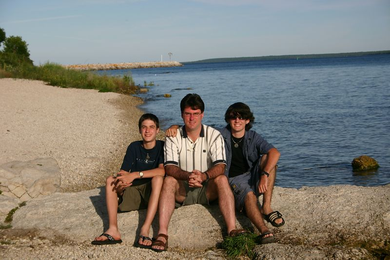 Evan, Tim, and Justin on the south shore.  In the sun.