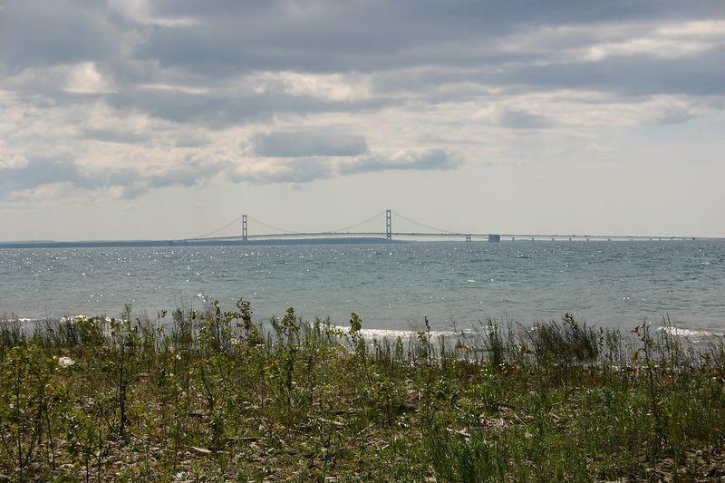 Mackinac Bridge, looking west-southwest.