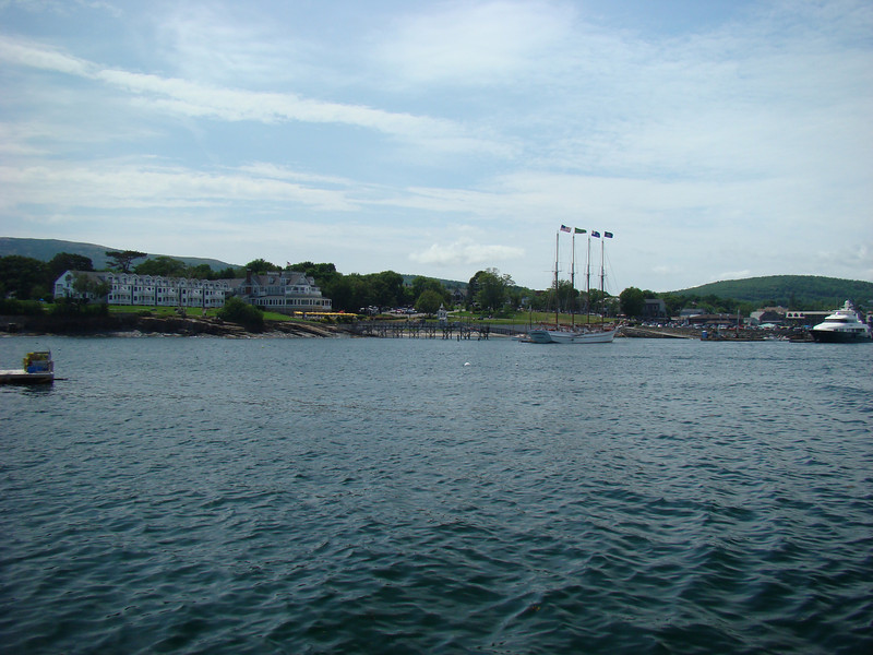 Looking back at Bar Harbor from the Whale watching boat.