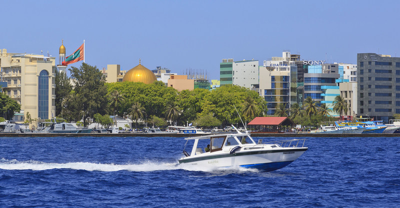 Malé with the iconic golden dome from the Islamic Centre