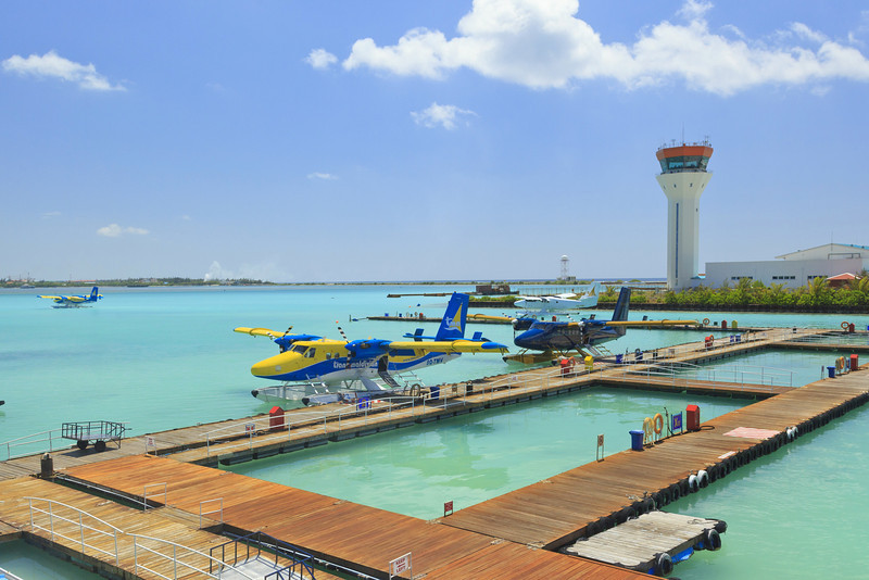 We went on a sightseeing flight on a seaplane to see the atolls around Malé