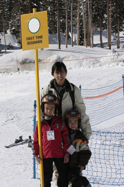 <center>Jacob and Jared's first ski lesson at Mammoth Mountain</center>