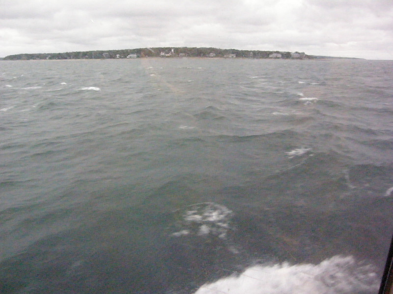 view from ferry's rest room. Pretty choppy