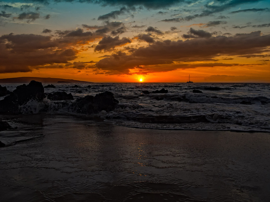 February 15, 2012: And that, my friends, is a typical Maui sunset as observed from our wedding beach in Makena, Maui, Hawaii.