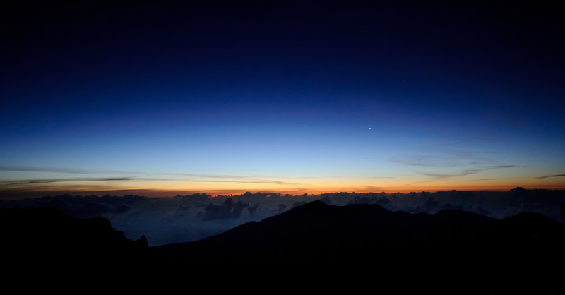 Sunrise on Haleakala.  If you look closely, you can see a couple of planets too.