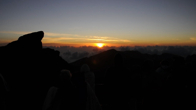 Native Hawaiian singing, welcoming the sunrise on Haleakula