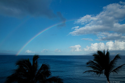 Two rainbows on the ocean