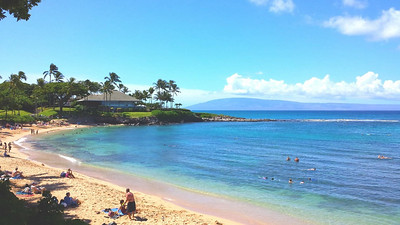 Napili Bay in Kapalua. Excellent snorkeling there. Merriman's restaurant in background.