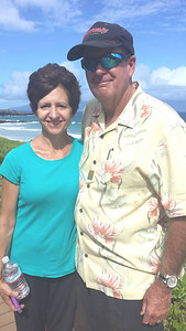 Beth and I during our morning walk along the trail in Kapalua.
