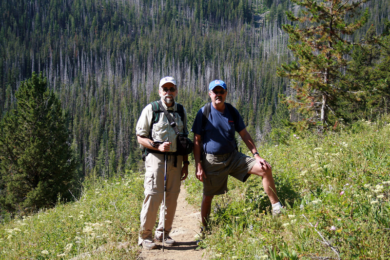 Dennis and Bill hiking in the 7 Devils National Forest.