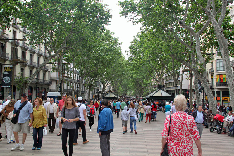 Barcelona - Las Ramblas, a tree-lined pedestrian boulevard through the heart of the city.  It is lined with flower stalls, souvenir kiosks and restaurants.  Very pleasant and crowded all day long and well into the night.