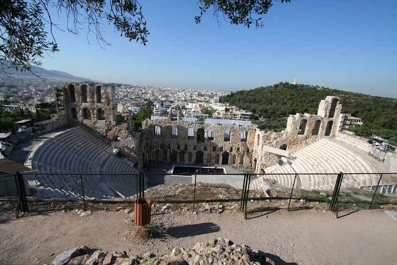 Athens - Looking down from the Acropolis to the theater.