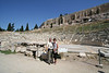 Athens - Theater of Dionysus (The top of the Parthenon is showing above the wall)