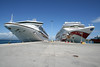 Corfu Port - Our ship, the Grand Princess on the left and Norwegian Jewel on right.