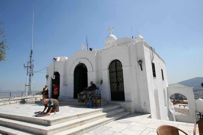 The tallest point in Athens - Lycabettus Hill -Greek Orthodox Church of St. George