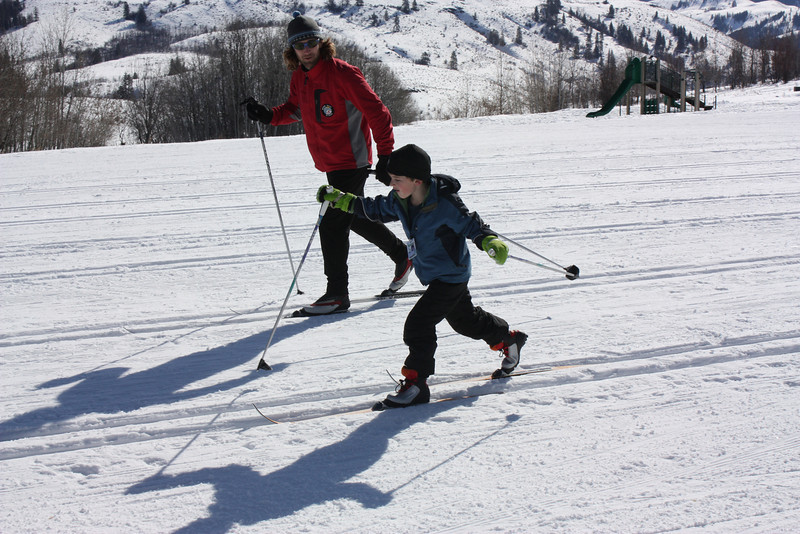 Henry took a cross-country ski lesson.