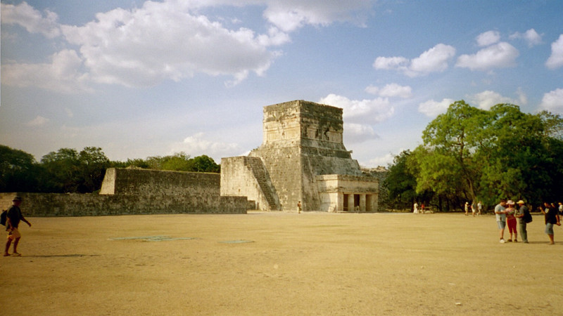 The Ball Court at Chichen Itza.  The Ball Court is 545 feet long and 225 feet wide overall.  A whisper from one end can be heard at the other end 500 feet away.<br /> <br /> Legends say the winning capitan would present his head to the losing capitan.  Mayans believed this to be an honor.