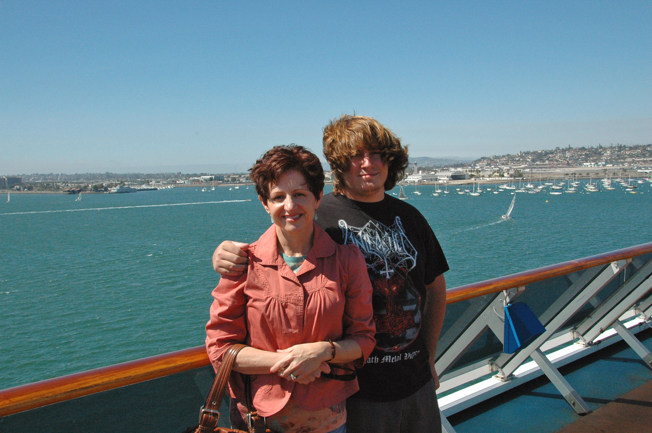 Beth and Matt on the fantail before departure from San Diego.