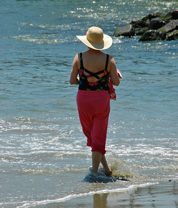 Beth on the beach at Zihuatanejo.