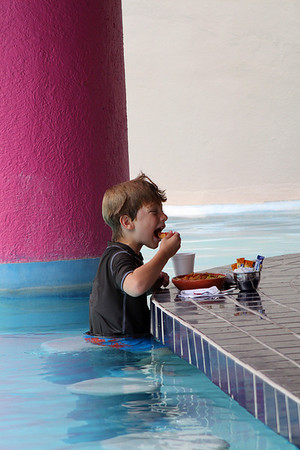 Harry found nirvana: the Westin's pool had a swim-up snack bar.