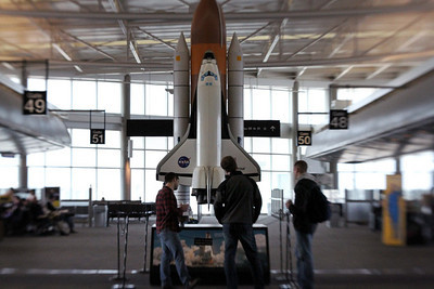 Space Shuttle model in the airport terminal. Good idea.