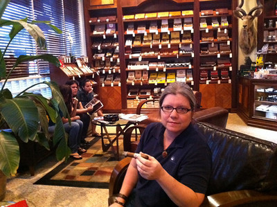 Rhonda relaxing at Little Havana Cigar Factory (formerly the Padilla lounge).