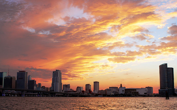 Another sunset view of the Miami skyline.