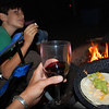 Ahhh, Dimitri's chicken tacos and wine by the fire. Heaven.
