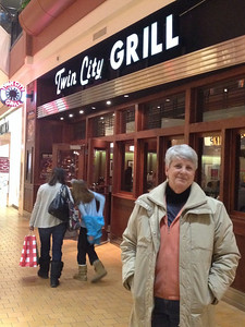 February 1, 2014 - (Mall of America [Twin City Grill] / Bloomington, Hennepin County, Minnesota) -- MaryAnne in front of the Twin City Grill