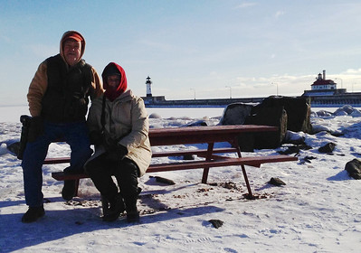 February 4, 2014 - (Canal Park / Duluth, Saint Louis County, Minnesota) -- David & MaryAnne in front of lighthouses