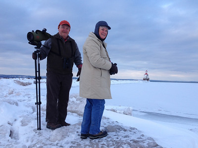 February 2, 2014 - (Wisconsin Point / Superior, Douglas County, Wisconsin) -- David & MaryAnne in front of the Wisconsin Point Light [photo taken by Stephanie Schuppan]