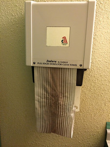 February 3, 2014 - (Wilbert's Cafe / Cotton, Saint Louis County, Minnesota) -- Cloth towel dispenser in bathrooms