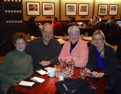 February 1, 2014 - (Mall of America [Twin City Grill] / Bloomington, Hennepin County, Minnesota) -- Anne Kirkpatrick, David, MaryAnne and Stephanie Schuppan dining at Twin City Grill